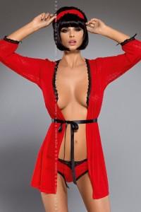Peignoir sexy avec loup et ceinture rouge Obsessive