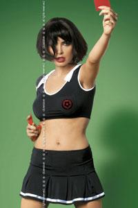 Costume arbitre noir avec carton rouge